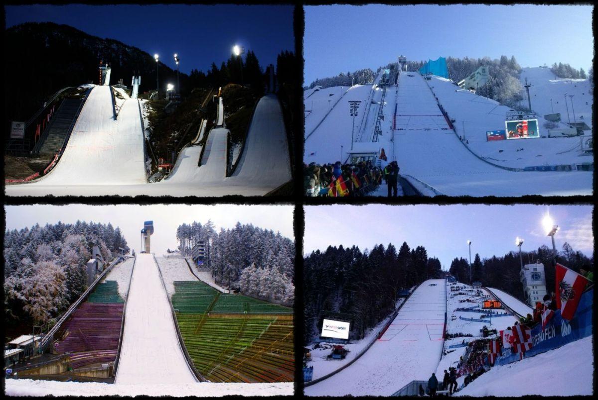 Areny Turnieju Czterech Skoczni (w Oberstdorfie, Garmisch-Partenkirche, Innsbrucku, Bischofshofen)
