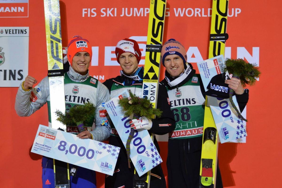 Lahti.2016.podium Tande.Hayboeck.Freund fot.Przemek.Wardega - PŚ Lahti: Niespodziewany triumf Hayboecka, Prevc poza podium!
