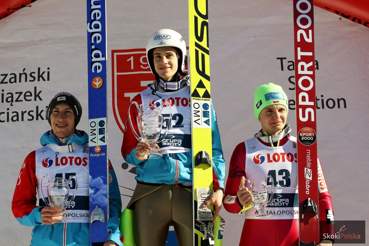 Podium konkursu (od lewej: Diethart, Wohlgenannt, Ziobro), fot. Julia Piątkowska