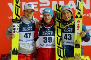 Podium PŚ Wisła 2016 (od lewej: K.Gangnes, R.Koudelka, N.Kasai), fot. Julia Piątkowska