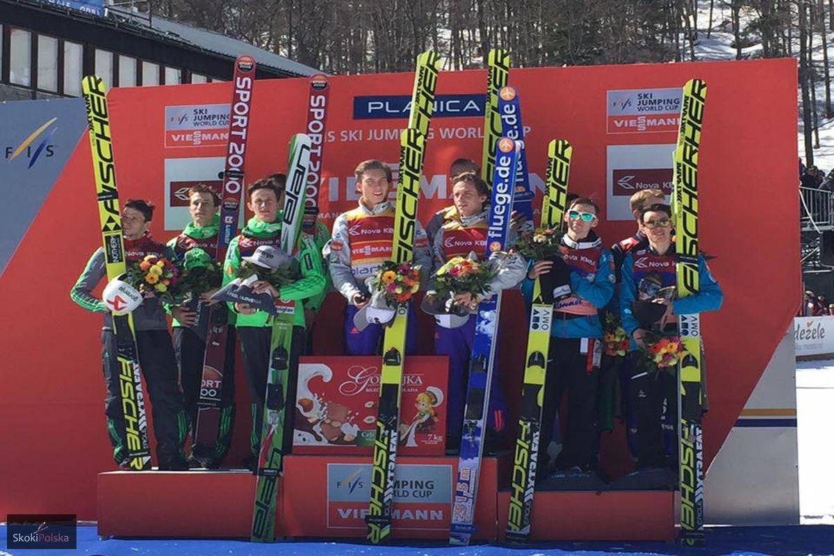 Plnica podium - PŚ Planica: Norwegowie zwyciężają, rekordy Huli i Kota, Polacy spadają na 6. lokatę