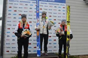 Podium konkursu kobiet, fot. SM-hiihdot 2016, Taivalkoski