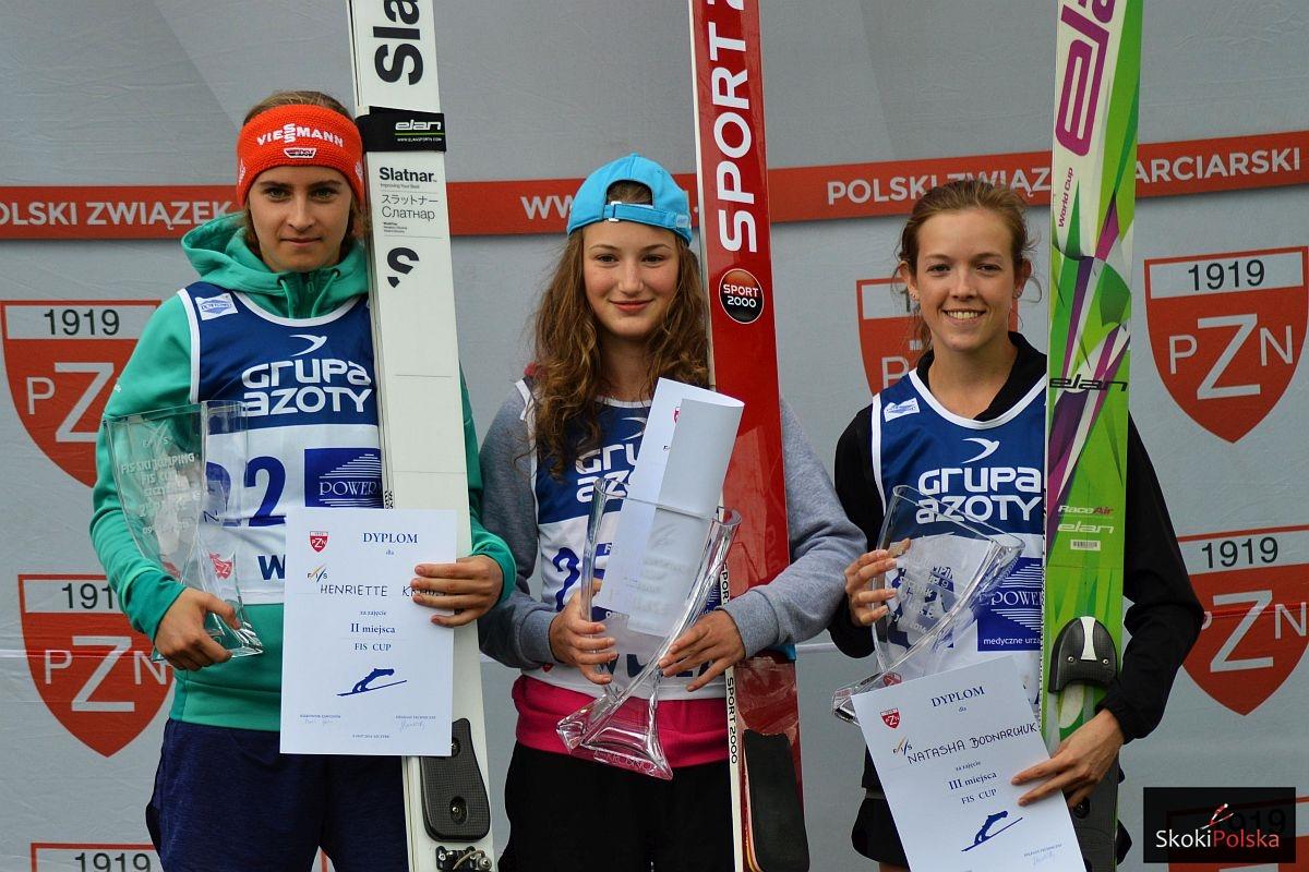Podium konkursu (od lewej: H.Kraus, K.Rajda, N.Bodnarchuk), fot. Bartosz Leja