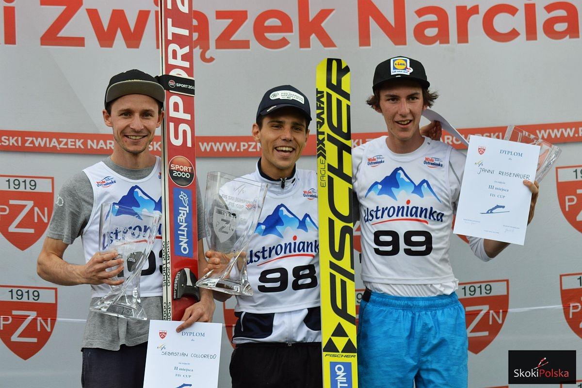 FIS.Cup .Szczyrk.2016 podium.panowie S.Colloredo.D.Bresadola.J.Reisenauer fot.Bartosz.Leja  - FIS Cup Szczyrk: Włosi rządzą w Szczyrku, dwóch Polaków tuż za podium