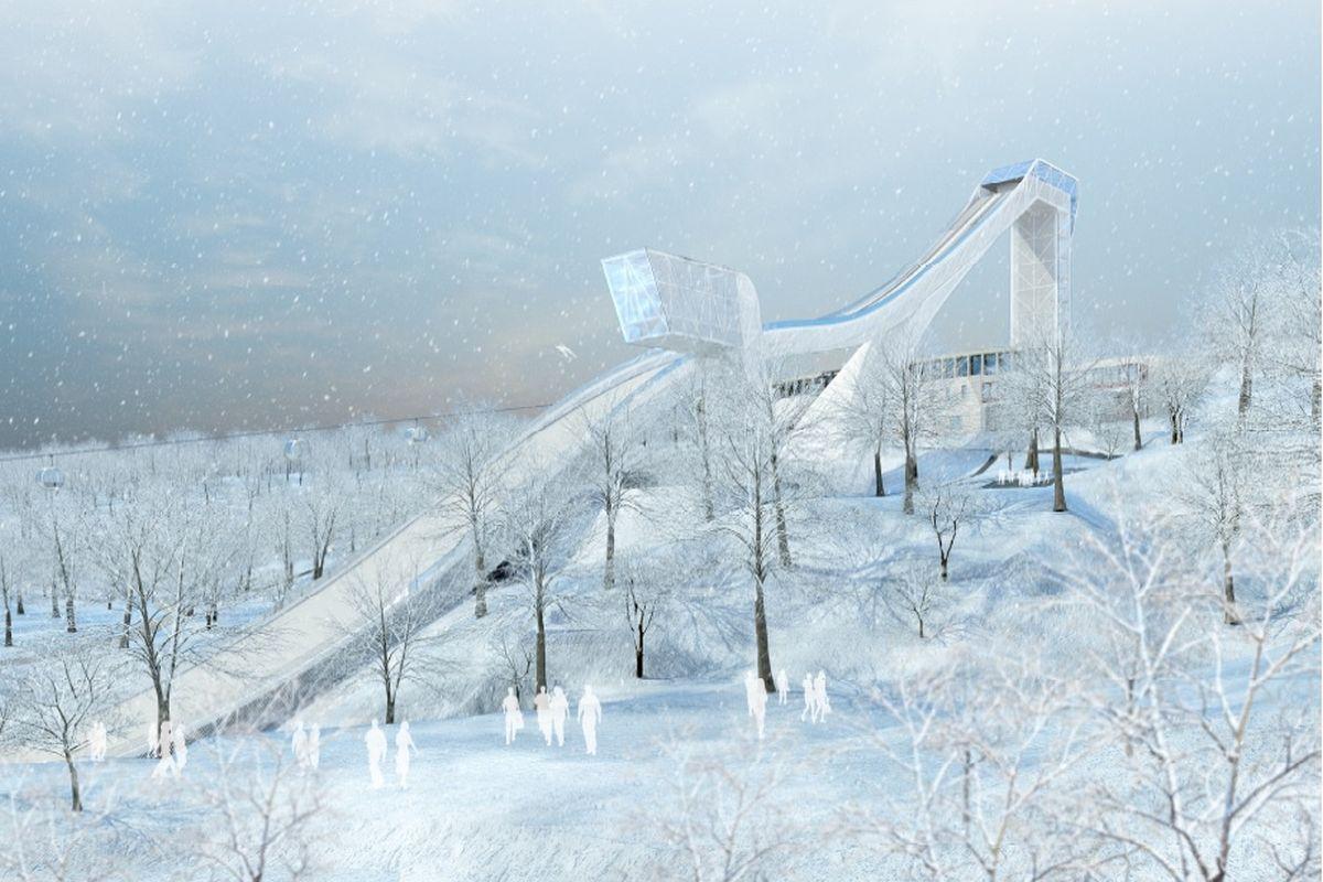 Wizualizacja projektu skoczni narciarskiej w Moskwie (fot. stroi.mos.ru)