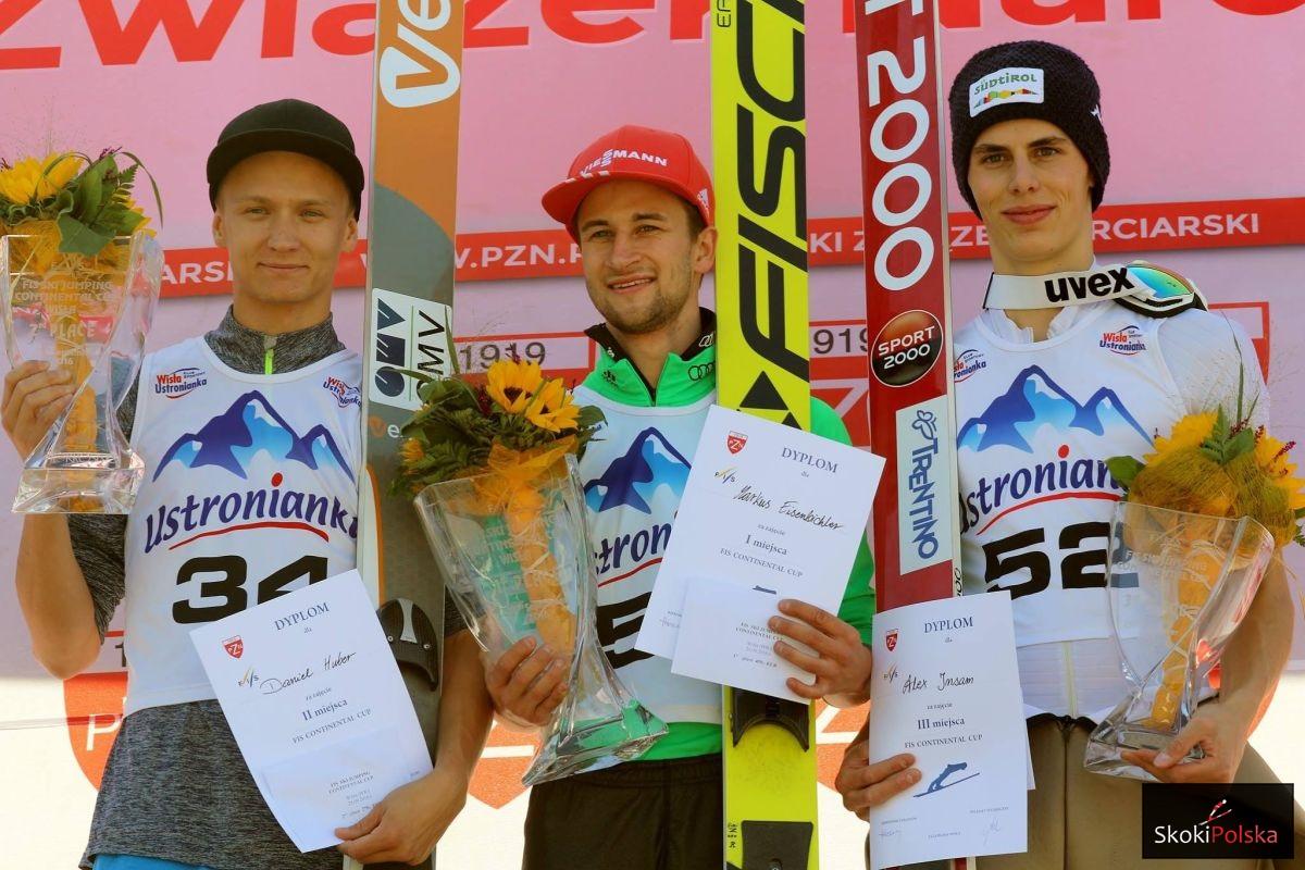 Podium konkursu (od lewej: D.Huber, M.Eisenbichler, A.Insam), fot. Julia Piątkowska