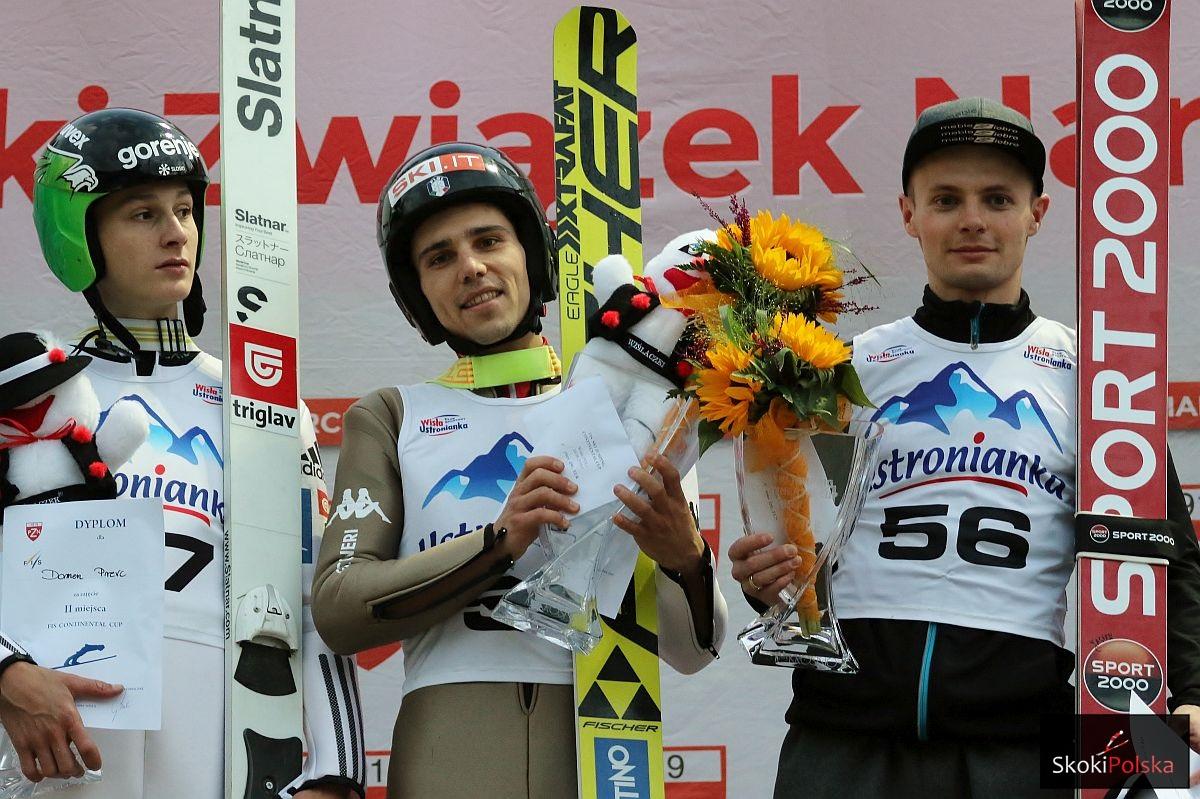 Podium konkursu (od lewej: D.Prevc, D.Bresadola, J.Ziobro), fot. Julia Piątkowska