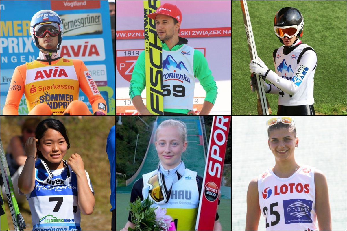 Triumfatorzy i liderzy letnich cykli FIS (od góry od lewej: M.Kot, M.Eisenbichler, S.Huber, S.Takanashi, L.Morat, D.Haralambie), fot. SkokiPolska.pl / OC CoC Oberwiesenthal 2016