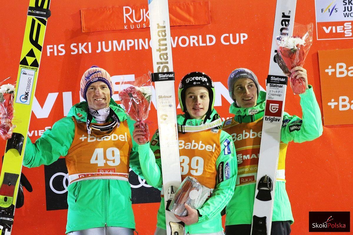 Freund.Severin Prevc.Domen Prevc.Peter WC.Kuusamo.2016.podium fot.Julia .Piatkowska - PŚ Kuusamo: Prevc wygrywa, Prevc upada, Kot piąty!