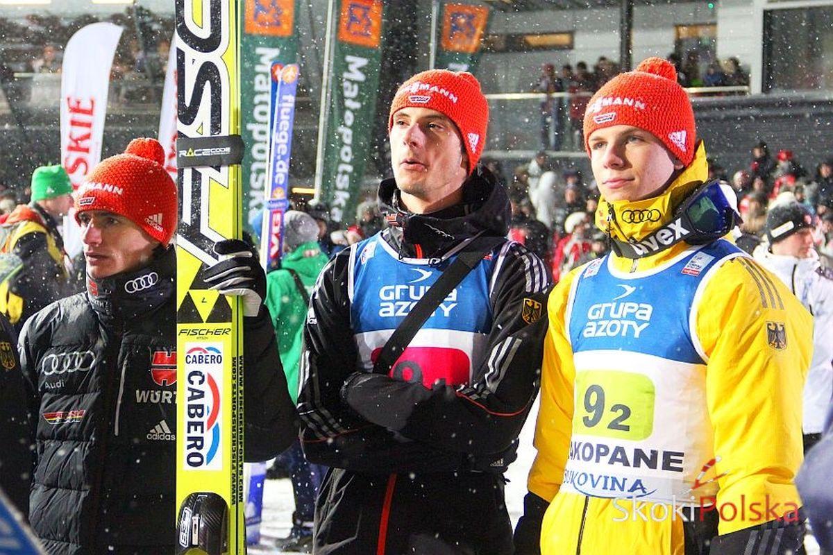 Niemieccy skoczkowie (od lewej: R.Freitag, A.Wank, A.Wellinger), fot. Stefan Piwowar