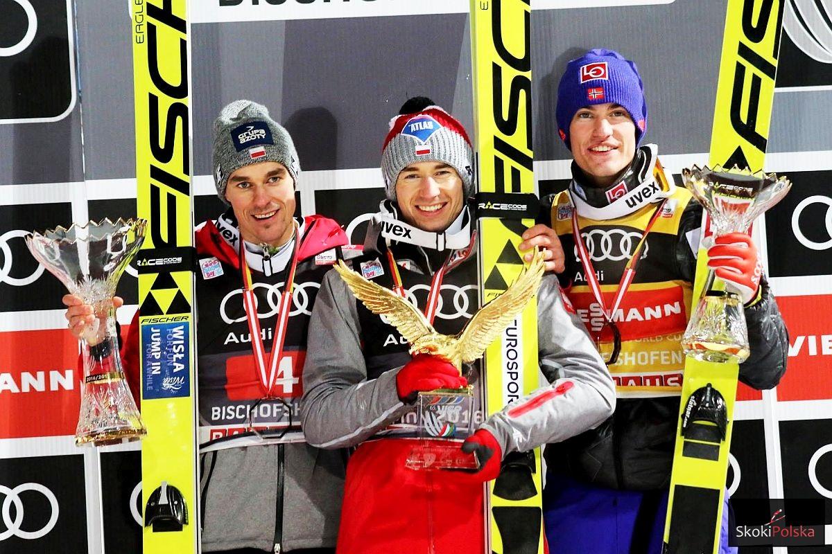 Podium 65. Turnieju Czterech Skoczni (od lewej: P.Żyła, K.Stoch, D.A.Tande), fot. Julia Piątkowska