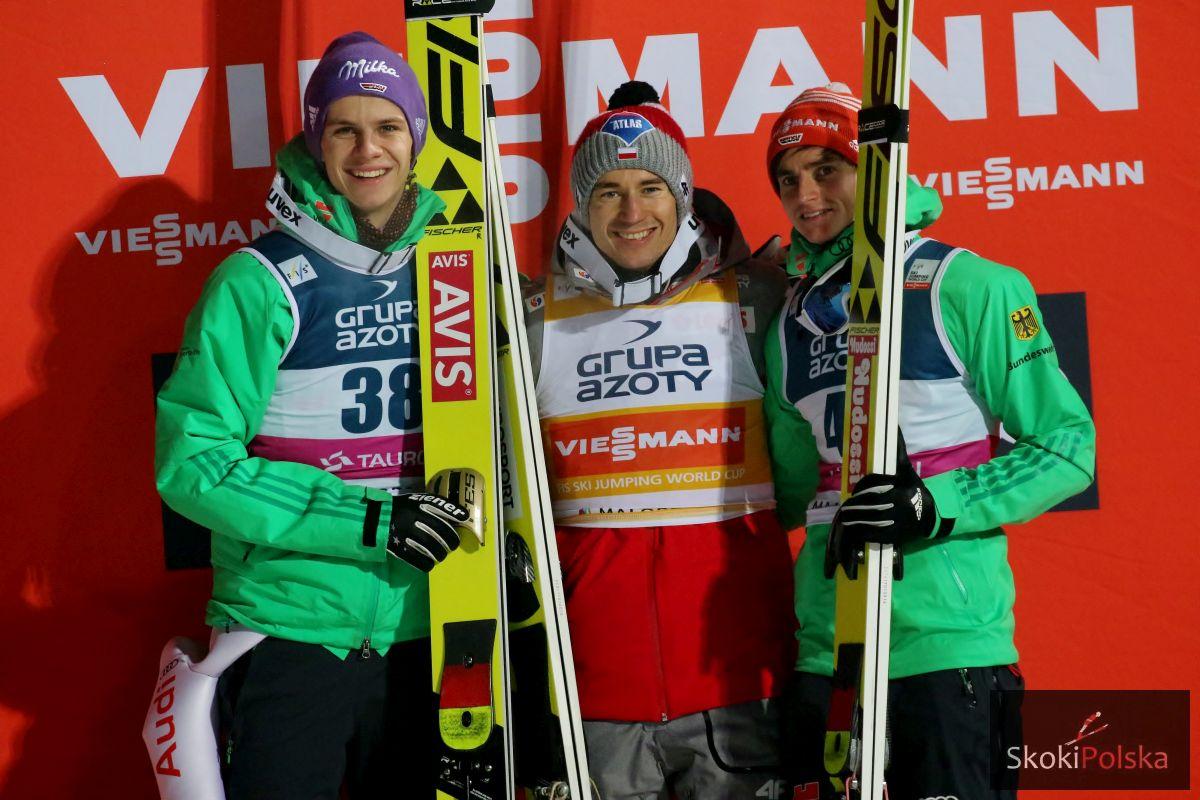 Pokonani i niepokonany, czyli Andreas Wellinger, Kamil Stoch i Richard Freitag na podium w Zakopanem, fot. Julia Piątkowska