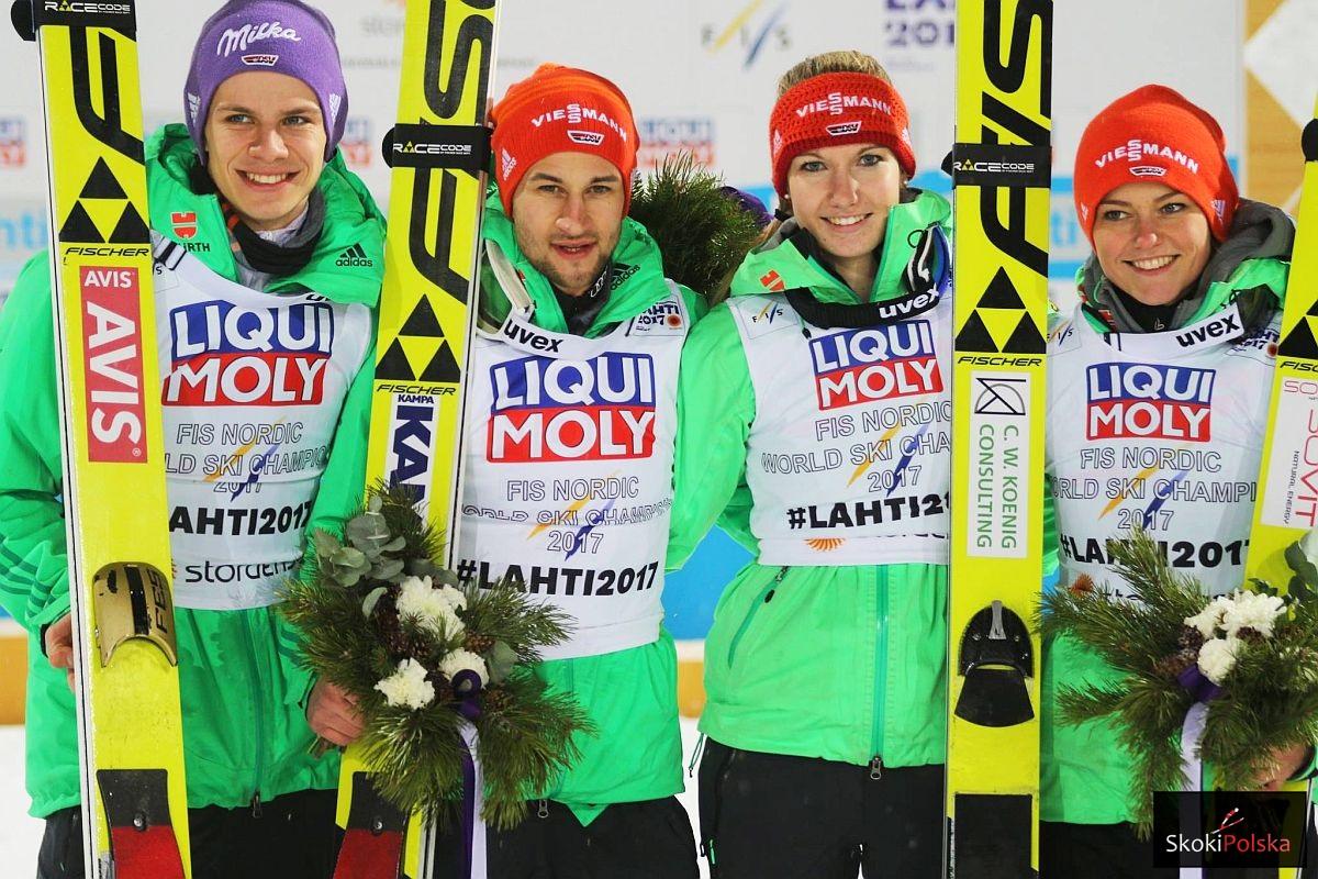 Niemiecka drużyna (od lewej: A.Wellinger, M.Eisenbichler, S.Wuerth, C.Vogt), fot. Julia Piątkowska