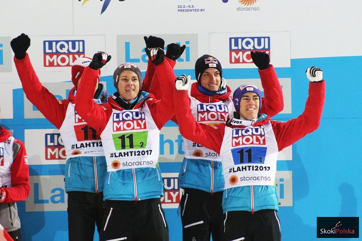 Austriaccy skoczkowie (od lewej: Hayboeck, Fettner, Schlierenzauer, Kraft), fot. Julia Piątkowska