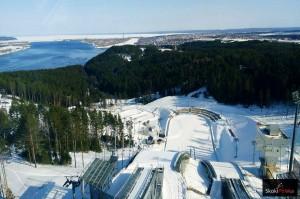 Widok ze szczytu skoczni w Czajkowskim (fot. Dasha Mashkina)