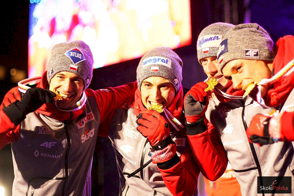 Polscy mistrzowie świata w Lahti (od lewej: K.Stoch, M.Kot, D.Kubacki, P.Żyła), fot. Julia Piątkowska