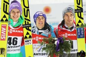 Medaliści MŚ Lahti 2017 na dużej skoczni (od lewej: Wellinger, Kraft, Żyła)., fot. Julia Piątkowska