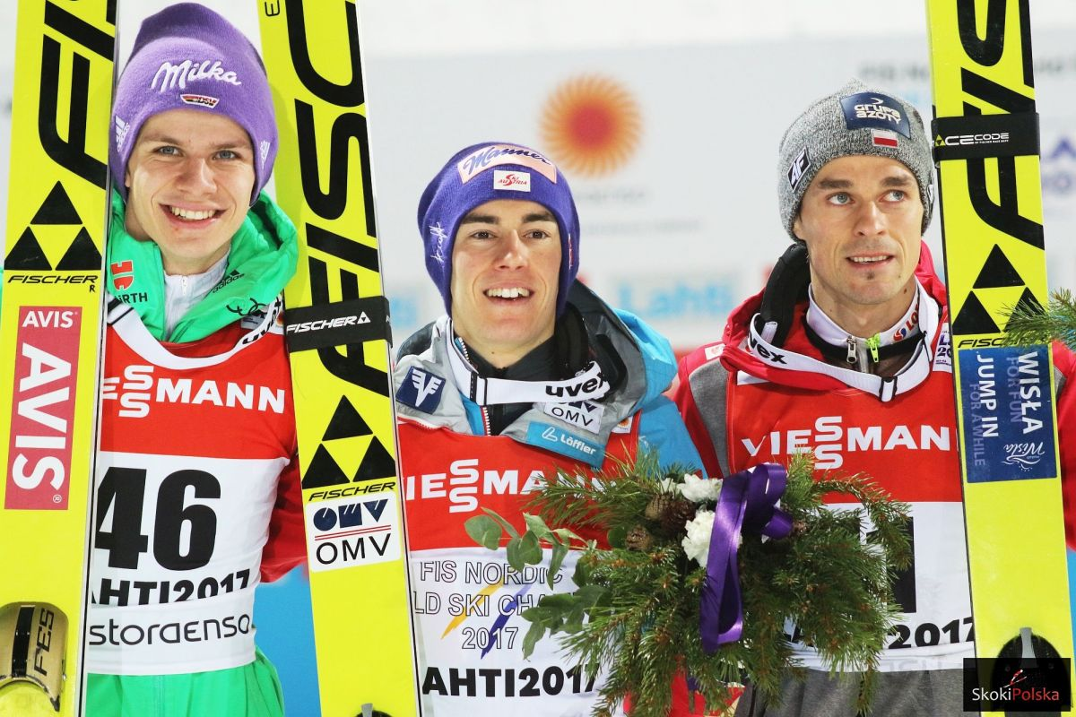Medaliści MŚ Lahti 2017 na dużej skoczni (od lewej: Wellinger, Kraft, Żyła), fot. Julia Piątkowska