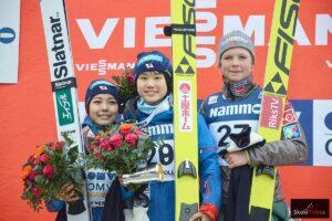 Podium konkursu PŚ w Oslo (od lewej: S.Takanashi, Y.Ito, M.Lundby), fot. Maria Grzywa