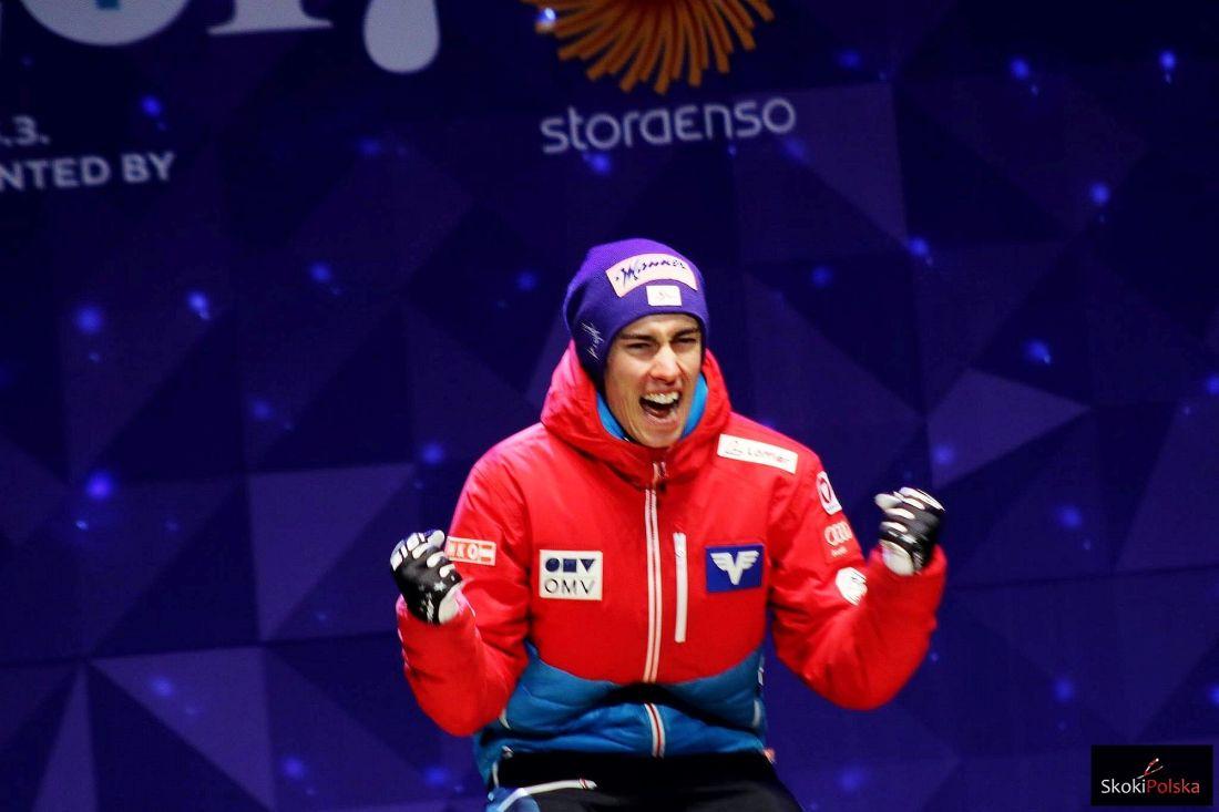 Stefan Kraft WSC.Lahti .ceremony fot.Julia .Piatkowska - Raw Air Trondheim: Kraft wciąż niepokonany, Stoch wraca do czołówki