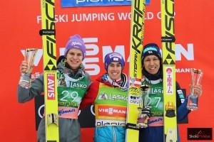 Podium konkursu (od lewej: A.Wellinger, S.Kraft, N.Kasai), fot. Julia Piątkowska