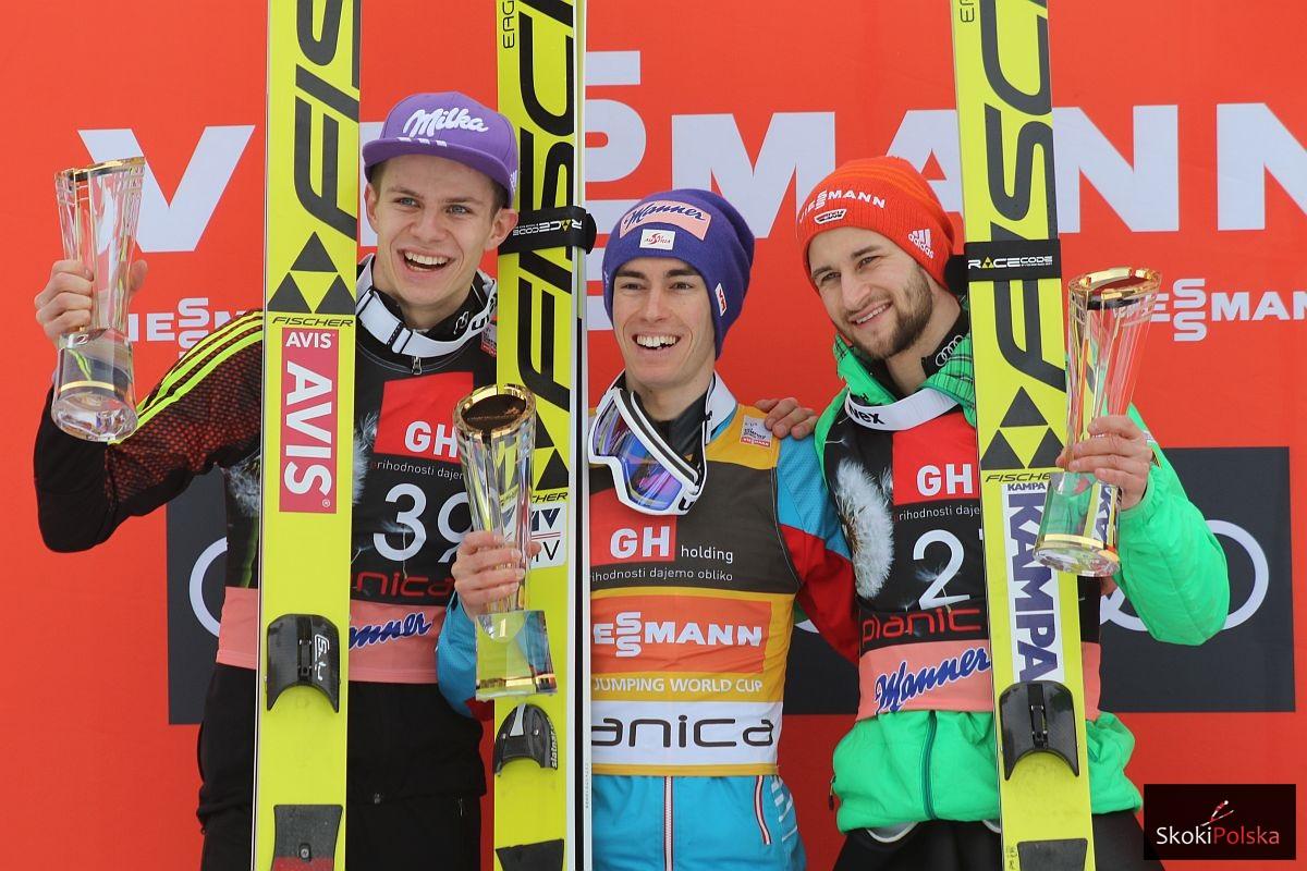Podium konkursu (od lewej: Andreas Wellinger, Stefan Kraft, Markus Eisenbichler), fot. Julia Piątkowska