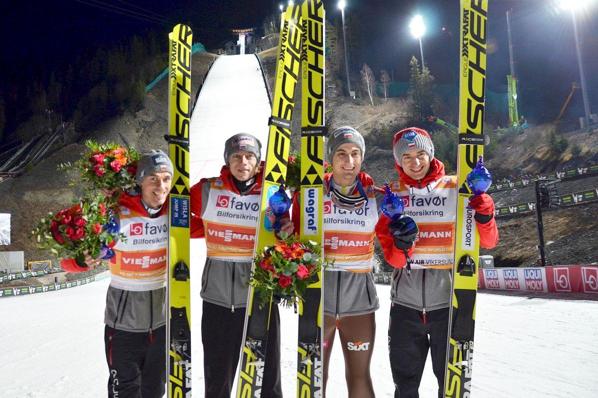 Polscy skoczkowie po zajęciu 2. miejsca w Vikersund (od lewej: P.Żyła, D.Kubacki, M.Kot, K.Stoch), fot. Przemek Wardęga