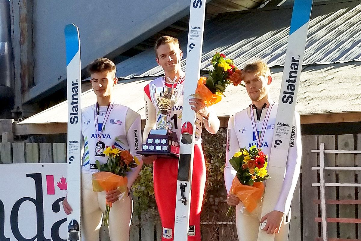 Podium konkursu mężczyzn (od lewej: Matthew Soukup, Mackenzie Boyd-Clowes, Joshua Maurer), fot. facebook.com/SkiJumpingCanada