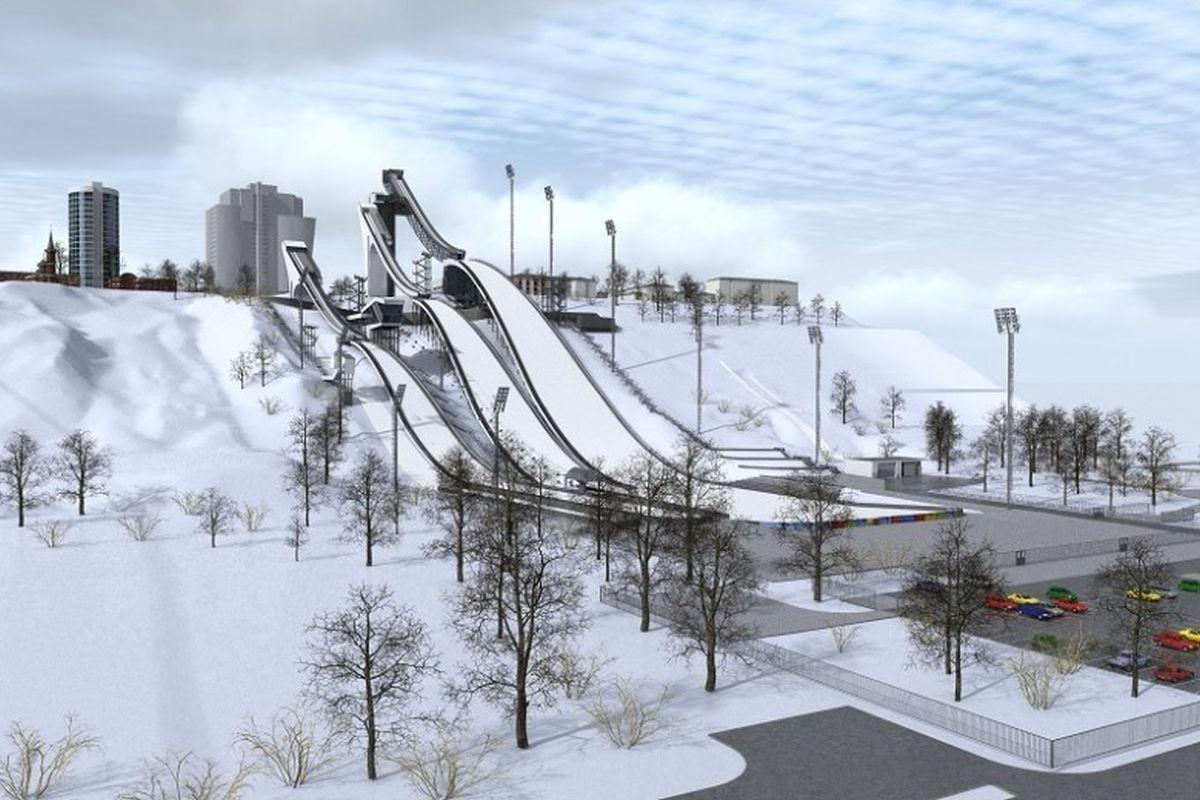 Jedna z wizualizacji planowanego kompleksu skoczni w Niżnym Nowogrodzie (fot. Interestingnn.ru)