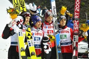 Austriaccy skoczkowie (od lewej: Hayboeck, Kraft, Huber, Aigner), fot. Julia Piątkowska