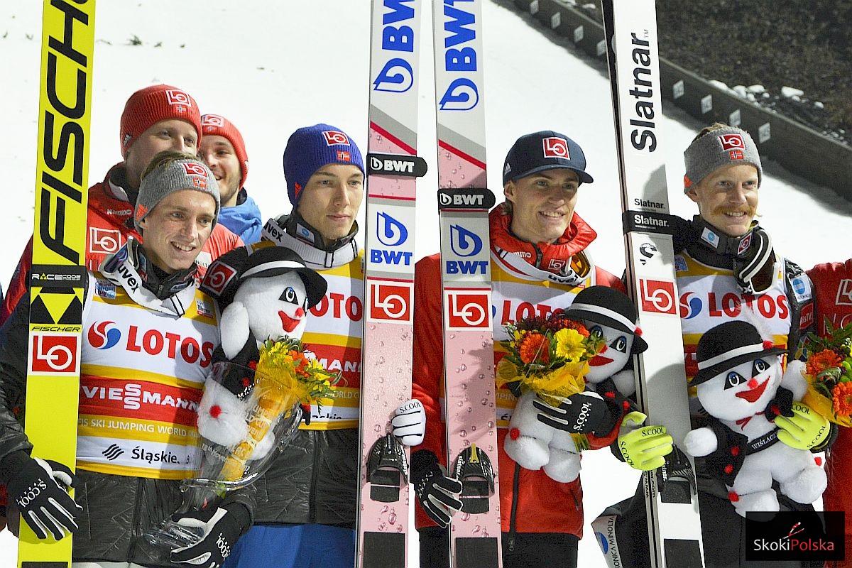 Norwescy skoczkowie (od lewej: A.Fannemel, J.A.Forfang, D.A.Tande, R.Johansson), fot. Julia Piątkowska