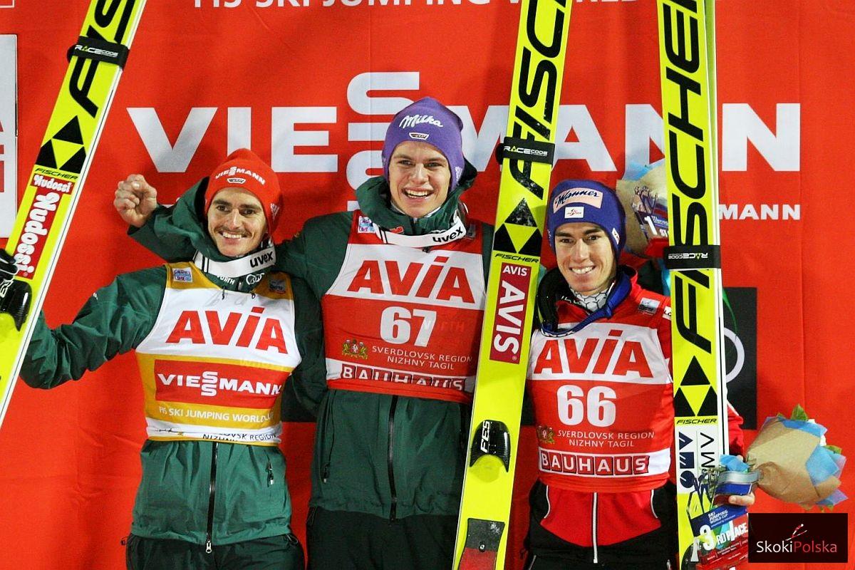 Podium konkursu (od lewej: Richard Freitag, Andreas Wellinger, Stefan Kraft), fot. Andrey Kascha / World Cup Nizhny Tagil 2017