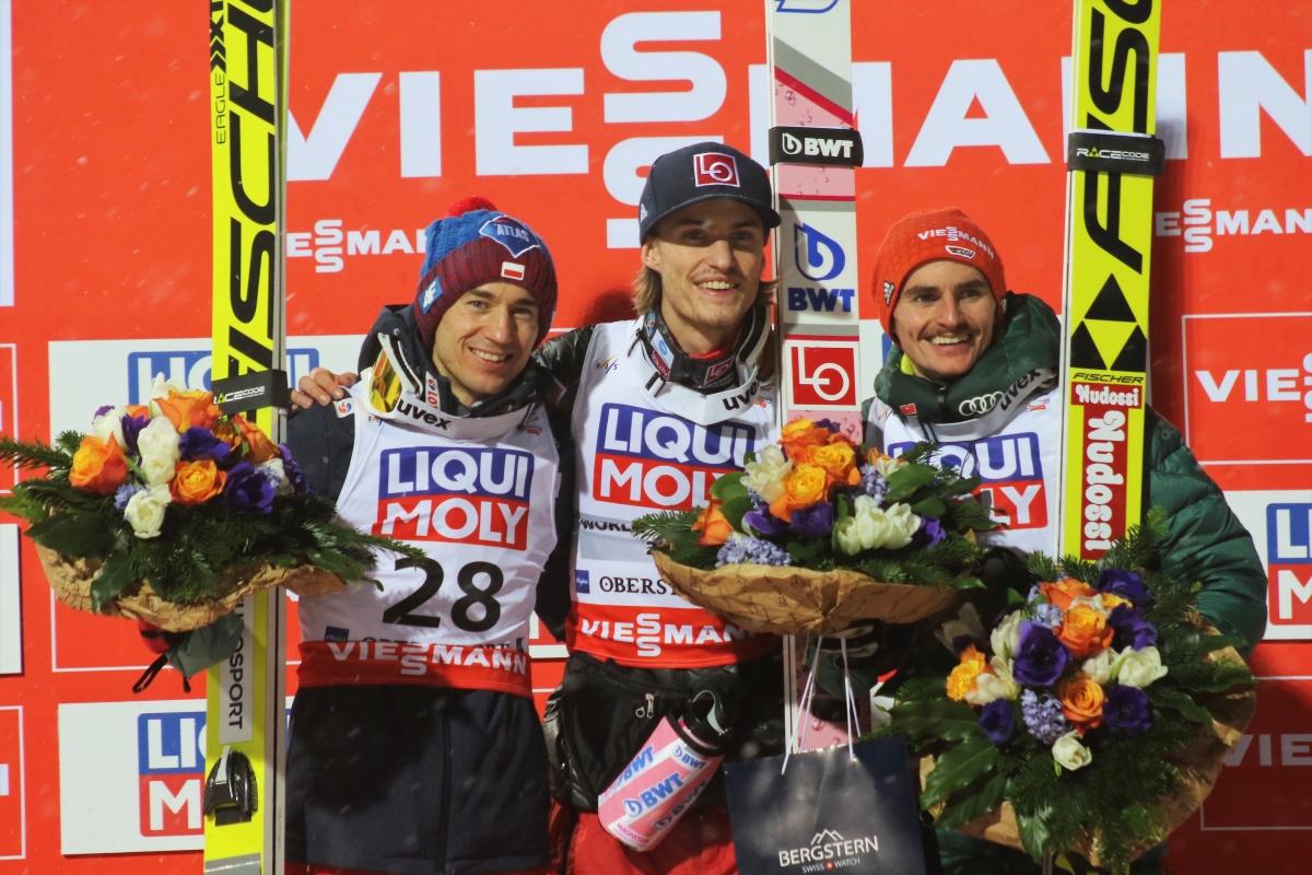 podium MŚ loty Oberstdorf 2018, fot. Julia Piątkowska