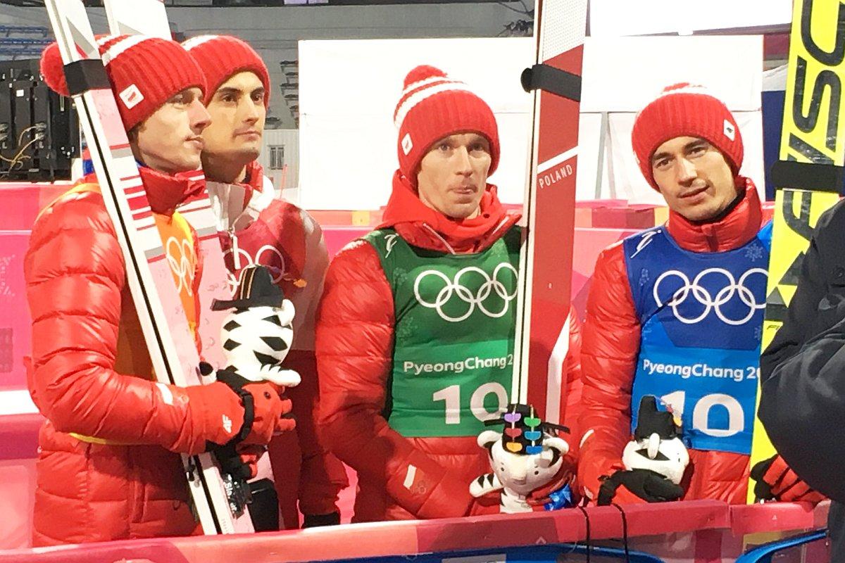 Polscy skoczkowie (od lewej: Kubacki, Kot, Hula, Stoch)