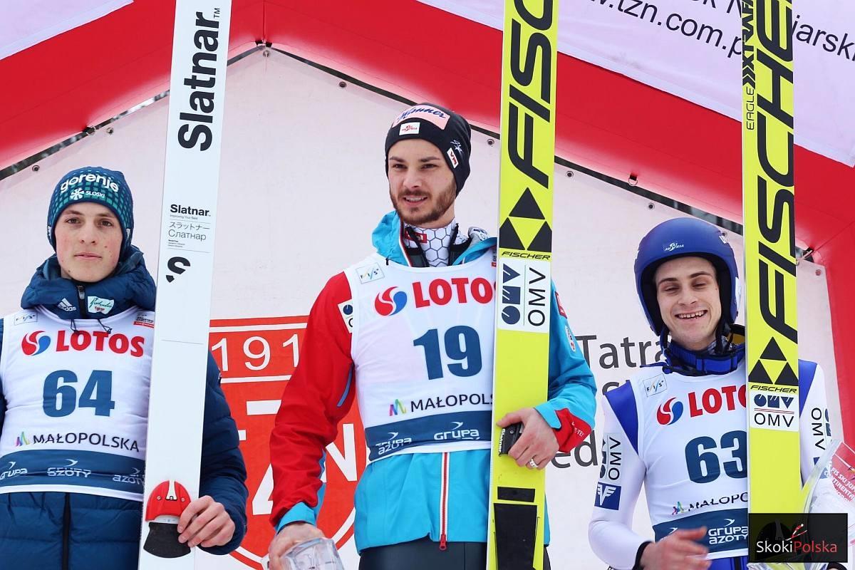 Podium konkursu (od lewej: B.Pavlovcic, M.Fettner, U.Wohlgenannt), fot. Agata Bodak