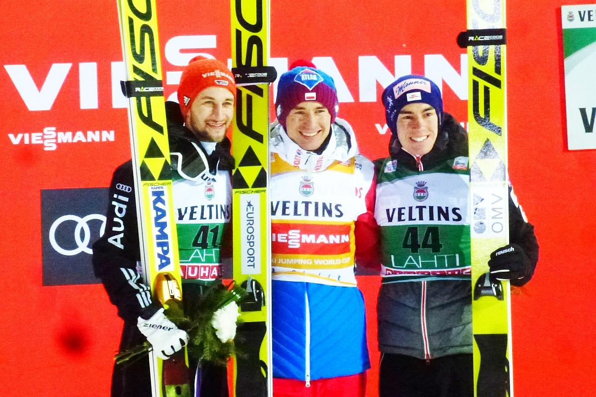 Podium konkursu (od lewej: M.Eisenbichler, K.Stoch, S.Kraft), fot. Tuija Hankkila