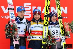 Podium konkursu (od lewej: J.A.Forfang, K. Stoch, S. Kraft), fot. Julia Piątkowska