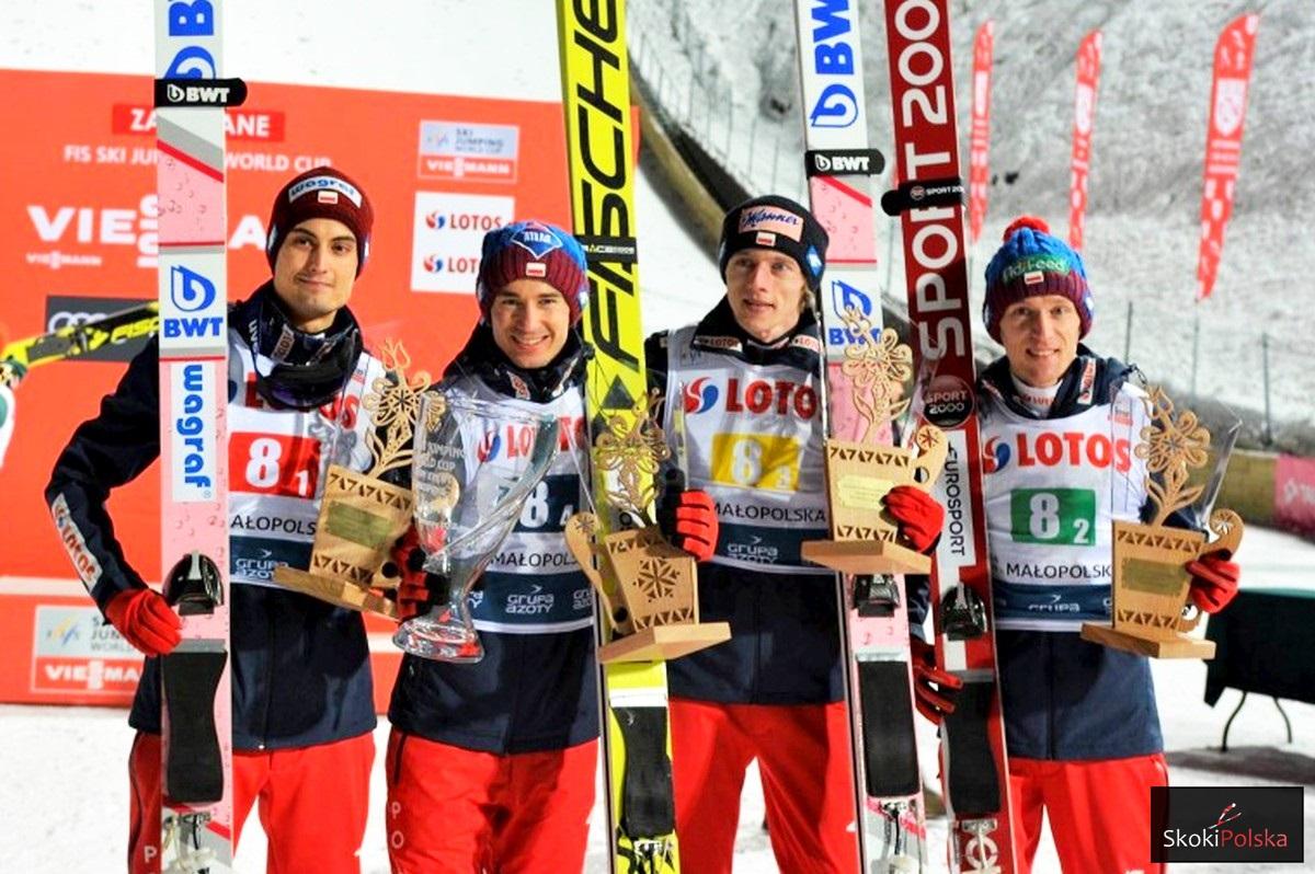 Polscy zwycięzcy w Zakopanem (od lewej: Kot, Stoch, Kubacki, Hula), fot. Julia Piątkowska