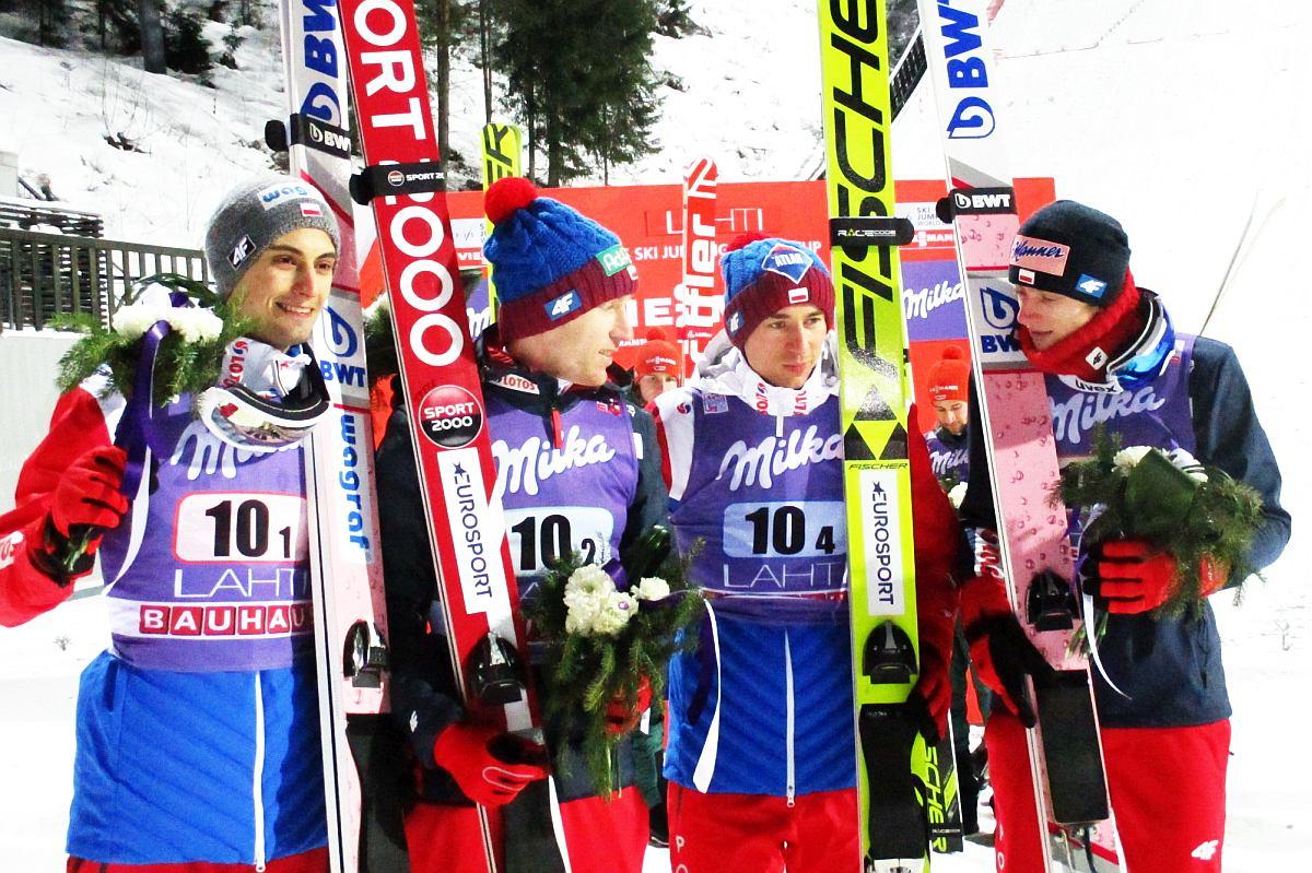 Polscy skoczkowie (od lewej: M.Kot, S.Hula, K.Stoch, D.Kubacki), fot. Tuija Hankkila