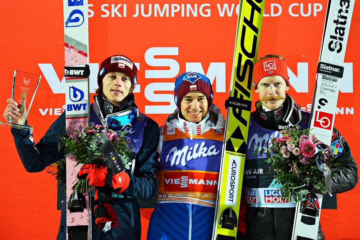 Podium konkursu w Lillehammer (od lewej: D.Kubacki, K.Stoch, R.Johansson), fot. Przemek Wardęga