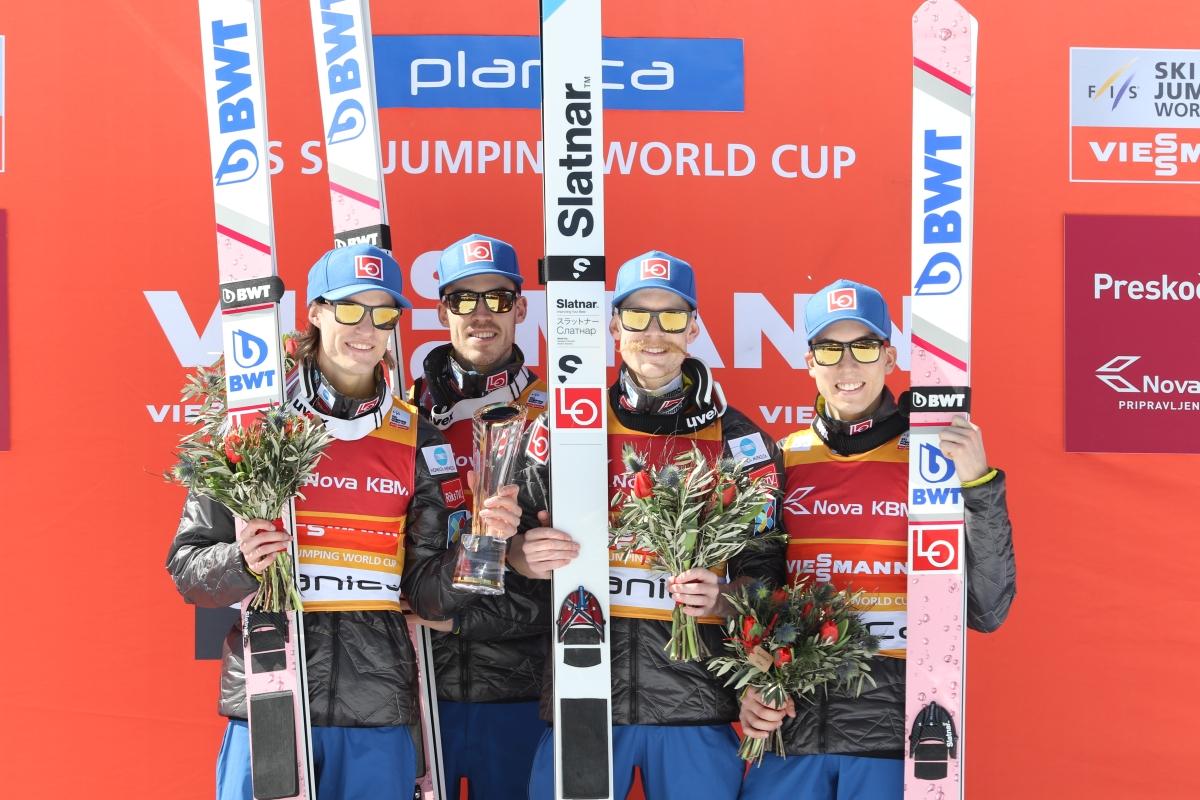 Norwegia Tande Stjernen Johansson Forfang Planica 2018 fot. Julia Piątkowska - PŚ Planica: Norwegowie najlepsi w ostatnim konkursie drużynowym sezonu. Polacy poza podium