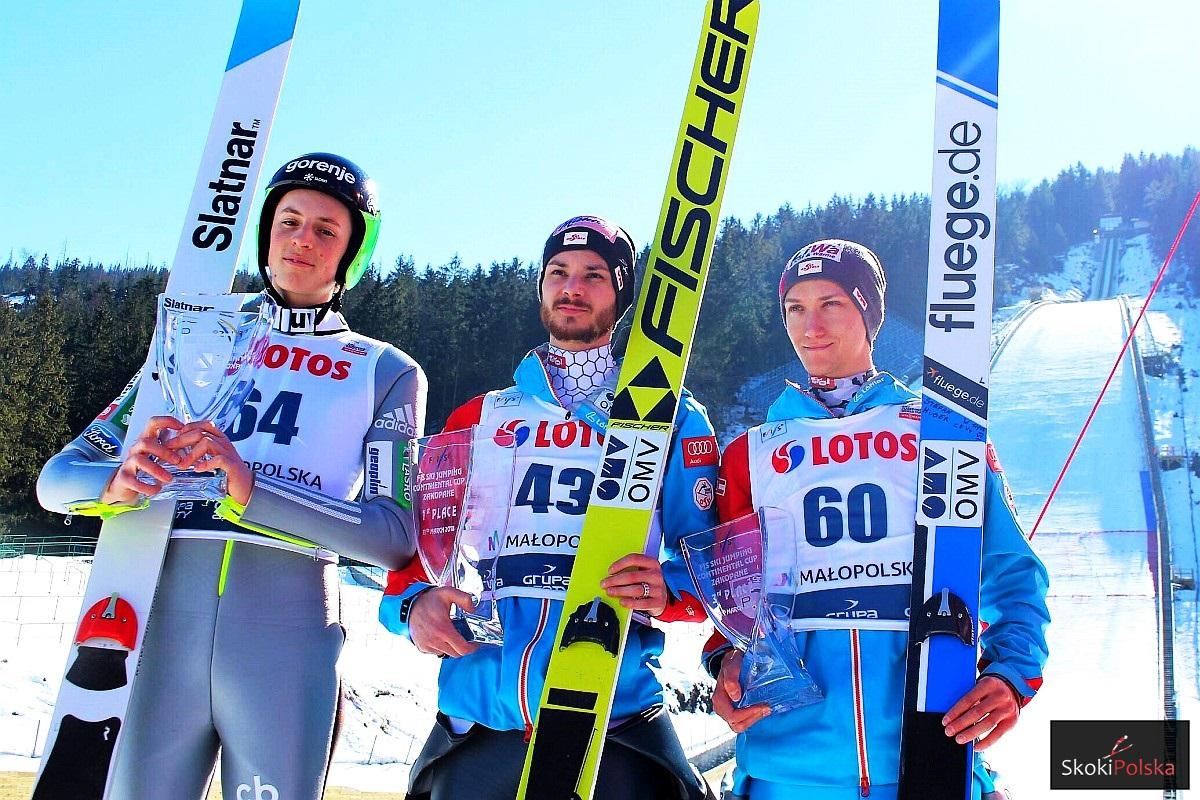 Podium konkursu (od lewej: B.Pavlovcic, M.Fettner, S.Huber), fot. Agata Bodak
