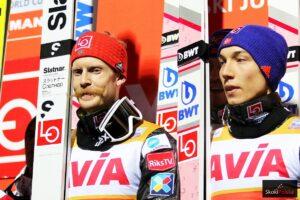 Norwescy skoczkowie (od lewej: R.Johansson, J.A.Forfang), fot. Julia Piątkowska