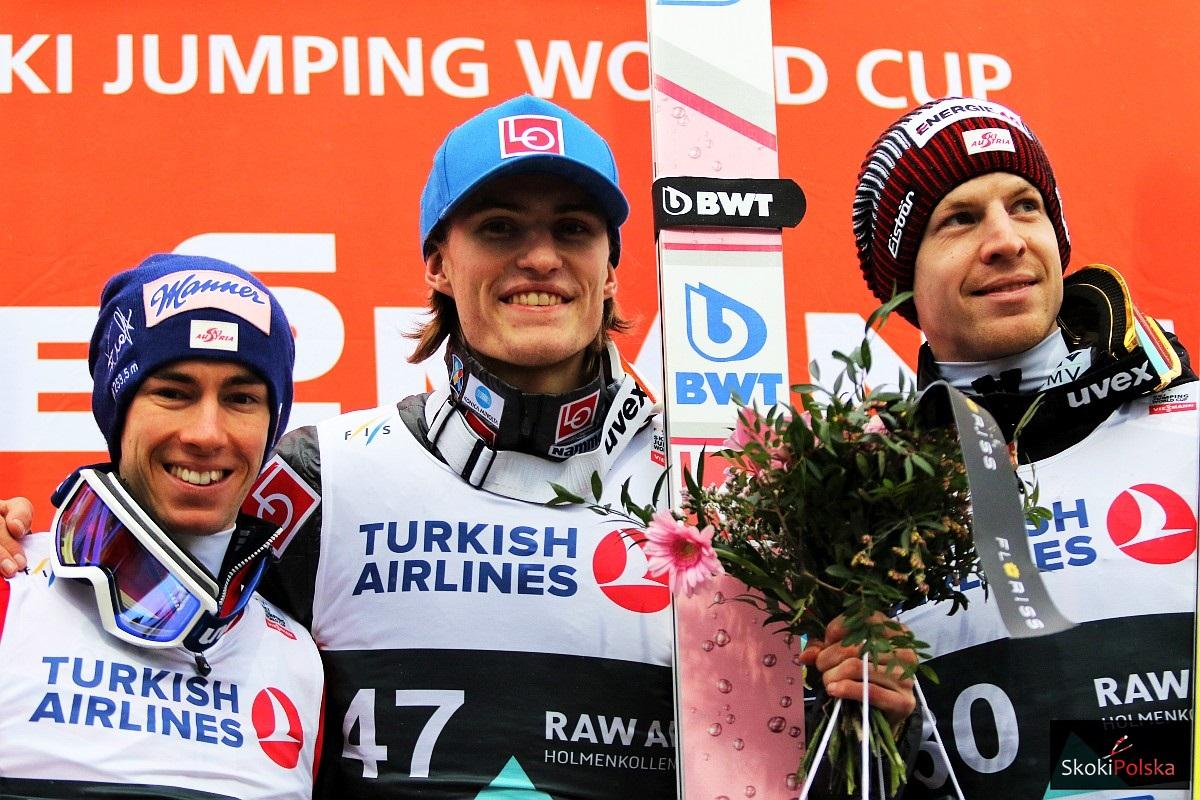 Podium konkursu (od lewej: S.Kraft, D.A.Tande, M.Hayboeck), fot. Julia Piątkowska