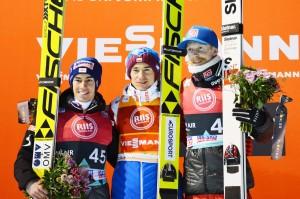 Podium konkursu (od lewej: S.Kraft, K.Stoch, R.Johansson), fot. Przemek Wardęga