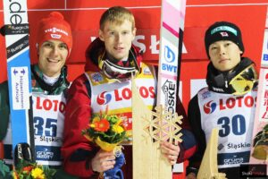 Podium konkursu PŚ Wisła 2018 (od lewej: S.Leyhe, E.Klimov, R.Kobayashi), fot. Julia Piątkowska