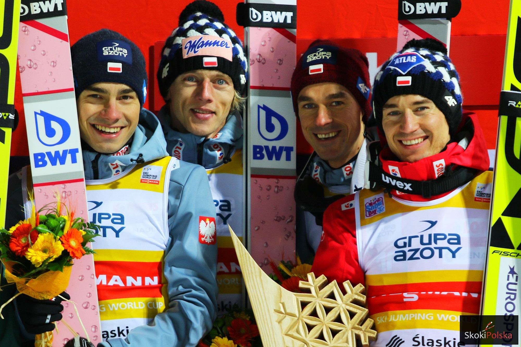 Polscy skoczkowie (od lewej: J.Wolny, D.Kubacki, P.Żyła, K.Stoch), fot. Julia Piątkowska