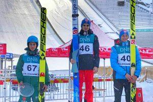 Podium konkursu, od lewej: F.Hoffmann, M.Lindvik, R.Pedersen (fot. Martyna Mital)