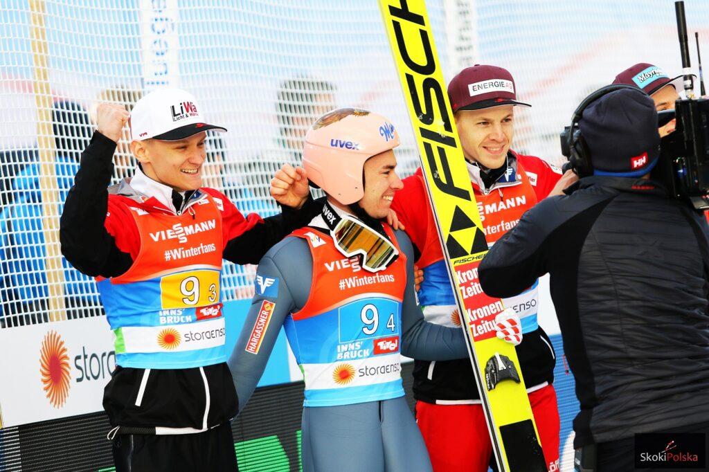 Austriaccy skoczkowie (Huber, Kraft, Hayboeck), fot. Julia Piątkowska