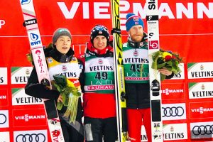 Podium konkursu (od lewej: R.Kobayashi, K.Stoch, R.Johansson), fot. Anna Trybuś